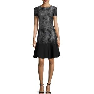 ST. JOHN Collection Metallic Palm-Jacquard Dress